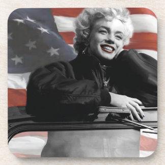 Patriotic Marilyn Beverage Coaster