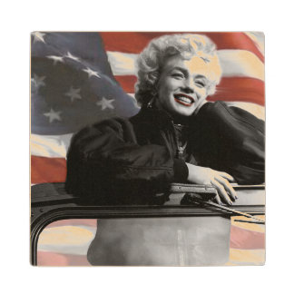Patriotic Marilyn Maple Wood Coaster