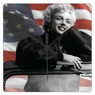 Patriotic Marilyn Square Wall Clock