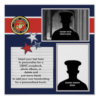 Patriotic Marine Corps Photo Collage Poster
