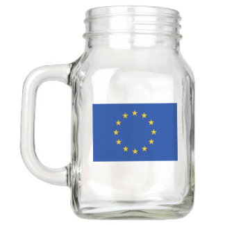 Patriotic Mason Jar with Flag of European Union