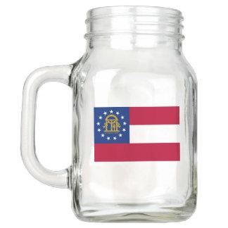 Patriotic Mason Jar with Flag of Georgia, USA