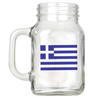 Patriotic Mason Jar with Flag of Greece
