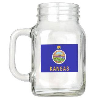 Patriotic Mason Jar with Flag of Kansas, USA