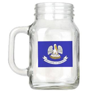 Patriotic Mason Jar with Flag of Louisiana, USA