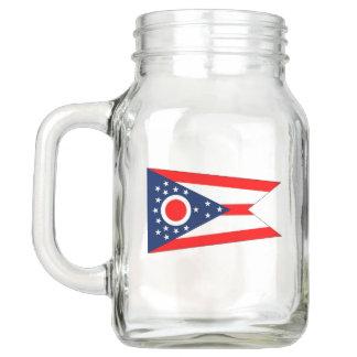 Patriotic Mason Jar with Flag of Ohio USA