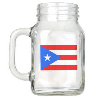 Patriotic Mason Jar with Flag of Puerto Rico USA