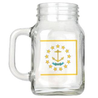 Patriotic Mason Jar with Flag of Rhode Island, USA