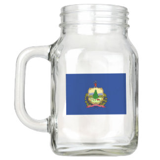 Patriotic Mason Jar with Flag of Vermont