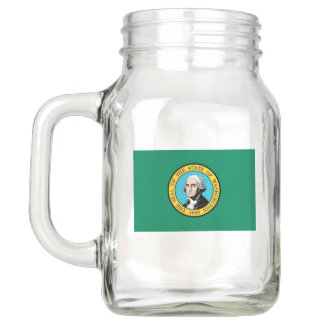 Patriotic Mason Jar with Flag of Washington