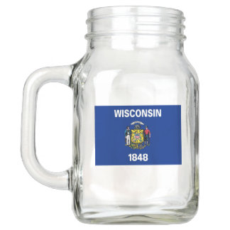 Patriotic Mason Jar with Flag of Wisconsin