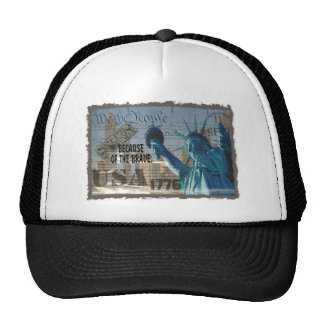 PATRIOTIC MEMORIAL 9-11-01 USA FREE BCOF THE BRAVE TRUCKER HAT