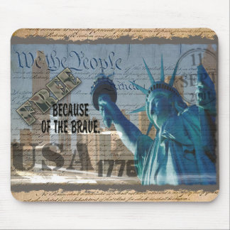 PATRIOTIC MEMORIAL 9-11-01 USA FREE BCOF THE BRAVE MOUSE PAD