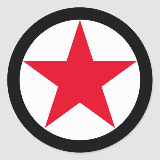 Patriotic Military Army War Red Star Symbol Sign Classic Round Sticker