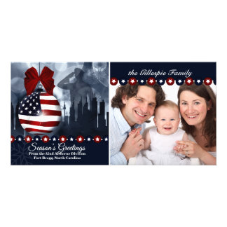 Patriotic Military Christmas | Flag Ornament Personalised Photo Card