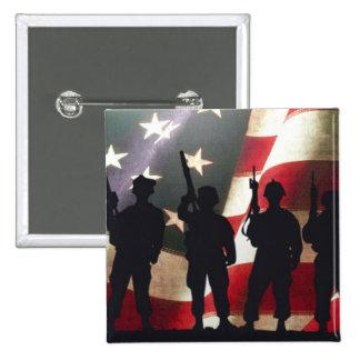 Patriotic Military Soldier Silhouette 15 Cm Square Badge