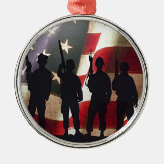 Patriotic Military Soldier Silhouettes Ornament
