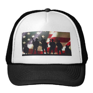 Patriotic Military Soldier Silhouettes Mesh Hat