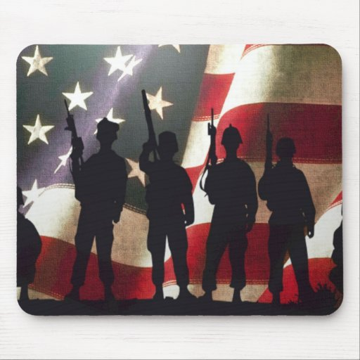 Patriotic Military Soldier Silhouettes Mousepads