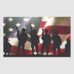 Patriotic Military Soldier Silhouettes Rectangular Sticker