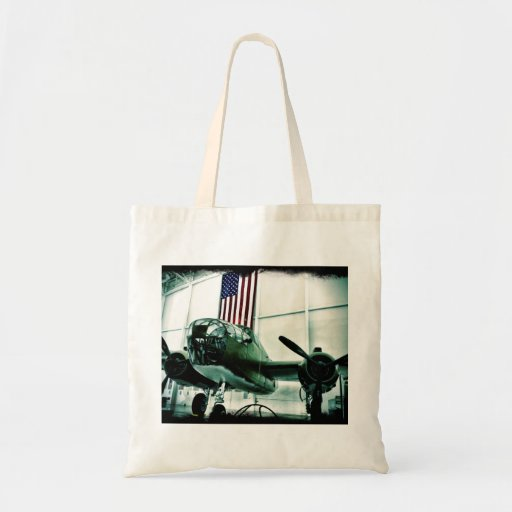Patriotic Military WWII Plane with American Flag Tote Bag