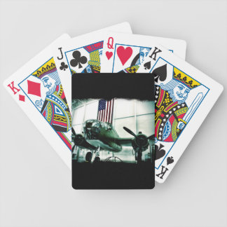 Patriotic Military WWII Plane with American Flag Bicycle Playing Cards