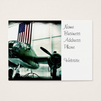 Patriotic Military WWII Plane with American Flag Business Card