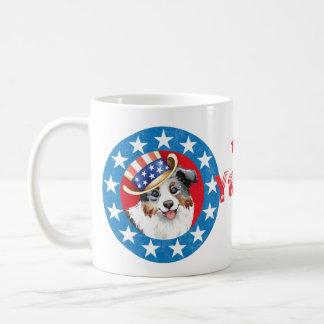 Patriotic Miniature American Shepherd Basic White Mug