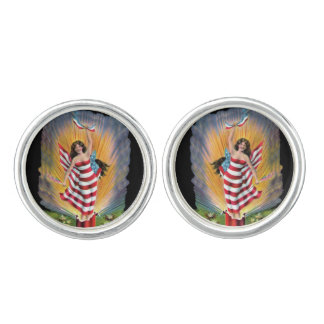 Patriotic Miss Lady Liberty USA Flag Fireworks Cufflinks