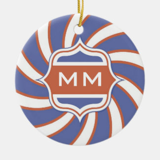 Patriotic Monogram Retro Spiral Red White Blue Christmas Ornament