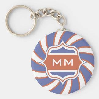 Patriotic Monogram Retro Spiral Red White Blue Keychains