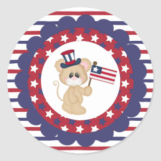 Patriotic Mouse with American Flag Stickers