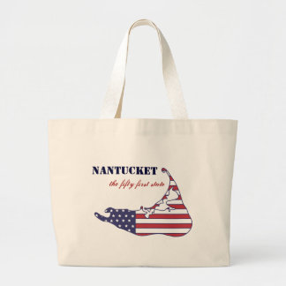 Patriotic Nantucket, the 51st State of America Large Tote Bag