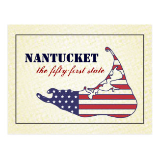 Patriotic Nantucket, the 51st State of America Postcard
