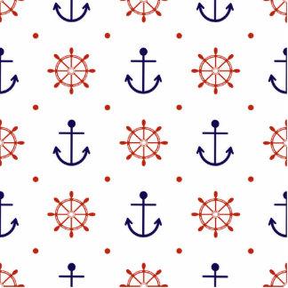 Patriotic Nautical Pattern Photo Sculpture Key Ring