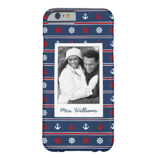Patriotic Nautical Pattern | Your Photo & Name Barely There iPhone 6 Case