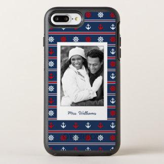 Patriotic Nautical Pattern | Your Photo & Name OtterBox Symmetry iPhone 7 Plus Case