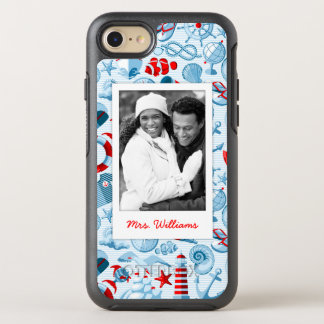 Patriotic Nautical Pattern | Your Photo & Name OtterBox Symmetry iPhone 8/7 Case