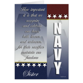 Patriotic Navy Troop Support Card for Sister