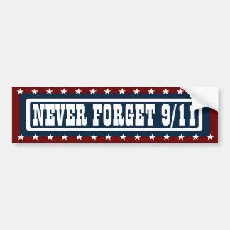 PATRIOTIC NEVER FORGET 9/11 Bumper Sticker