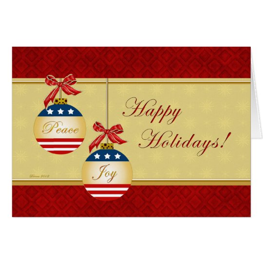 Patriotic Ornaments Happy Holidays Greeting Card