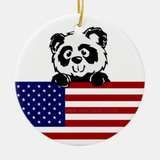 Patriotic Panda Round Ceramic Decoration