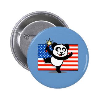 Patriotic Panda With American Flag 6 Cm Round Badge