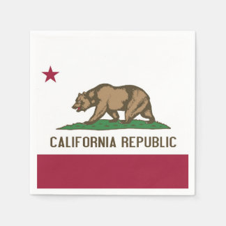 Patriotic paper napkins with flag of California