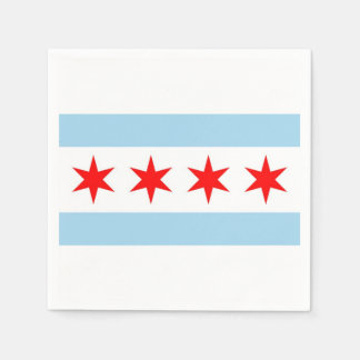 Patriotic paper napkins with flag of Chicago Disposable Napkin