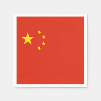 Patriotic paper napkins with flag of China