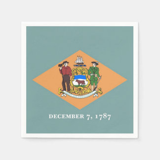 Patriotic paper napkins with flag of Delaware