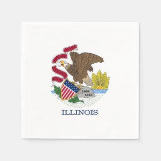 Patriotic paper napkins with flag of Illinois