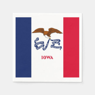 Patriotic paper napkins with flag of Iowa Disposable Napkin