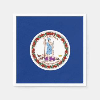 Patriotic paper napkins with Virginia flag